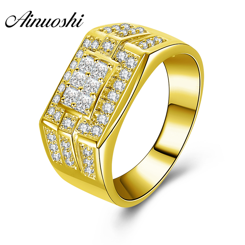 AINUOSHI Luxury 10K Solid Yellow Gold Men Ring Princess Cut Cluster Ring Wedding Engagement Gold Jewelry 7.7g Wide Wedding Band AINUOSHI Luxury 10K Solid Yellow Gold Men Ring Princess Cut Cluster Ring Wedding Engagement Gold Jewelry 7.7g Wide Wedding Band
