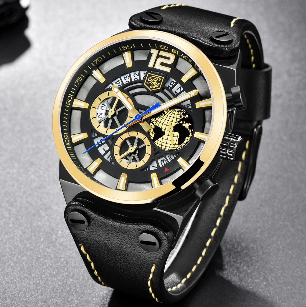 BENYAR Luxury Big Dial Sport Watch Men Gold Waterproof Outdoor Skeleton Quartz Chronograph Watch Male Clock erkek kol saati