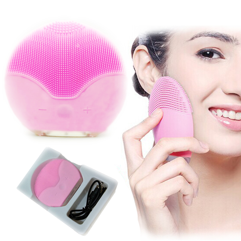 USB Charging Electric Face Cleansing Brush Device Silicone Cepillo Facial Cleaner Pore Dirt Removal black head Pimple SkinUSB Charging Electric Face Cleansing Brush Device Silicone Cepillo Facial Cleaner Pore Dirt Removal black head Pimple Skin