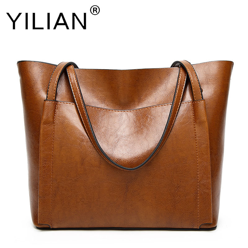 2018 New Fashion Women Handbag PU Oil Wax Leather Women Bag Large Capacity Tote Bag Big Ladies Shoulder Bags Western style safebet brand 2018 new fashion cool style real leather handbag wholesale oil wax leather slanting shoulder bag women s handbag