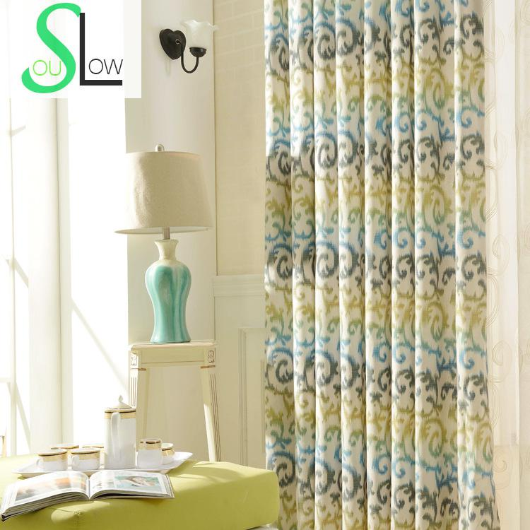 US $11.55 45% OFF|Slow Soul Grass Green Light Orange Modern Printing Cloth  Bedroom Living Room Curtain French Window Curtains For Cortinas Kitchen-in  ...