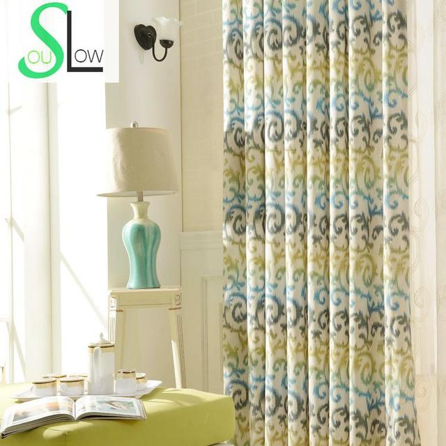 Slow Soul Grass Green Light Orange Modern Printing Cloth Bedroom Living  Room Curtain French Window Curtains