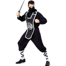 Umorden Adult Mens Japanese Black Ninja Warrior Costumes Halloween Carnival Purim Mardi Gras Party Outfit