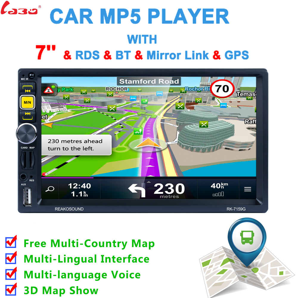 New 2 Din Car Multimedia Player+GPS Navigation 7'' HD Touch Screen Bluetooth Autoradio MP3 MP5 Video Stereo Radio NO DVD 7 2din in dash car gps navigation touch screen bluetooth fm radio stereo mp3 mp5 player autoradio w rearview camera euro map
