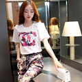 2015 summer new large size T-shirt silk casual pants suit female flower summer Haren pants two piece suit female