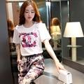 2015 verão novo tamanho grande T-shirt ocasional de seda calças Haren calças de duas peças terno terno feminino da flor do verão feminino