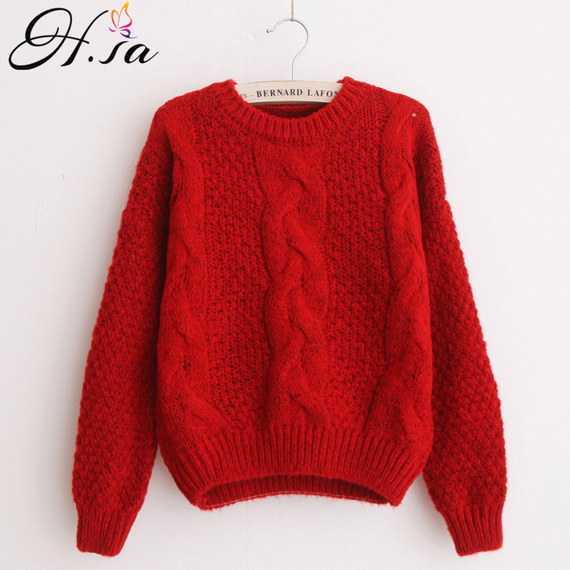 H.SA Women Sweaters Warm Pullover and Jumpers Crewneck Mohair Pullover Twist  Pull Jumpers Autumn 2017 Knitted Sweaters Christmas-in Pullovers from  Women s ... 36a22f9b3
