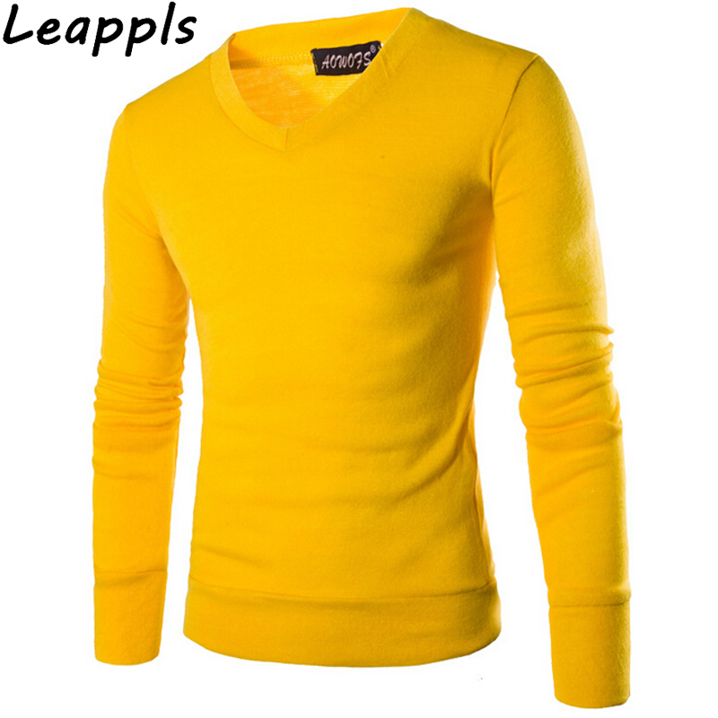 Leappls Tops Pullovers Men Clothing Preppy Style V Neck Thin Wool Solid Cashmere Sweater Men Knitted Pullover Sweaters 2018 New