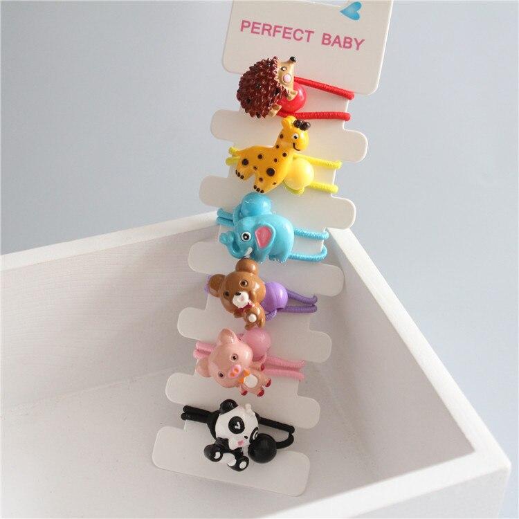 6 PCS Cute Resin Elephant Hedgehog Kids Elastic Hair Bands Baby Headdress Children Hair Ropes Girls Hair Accessories