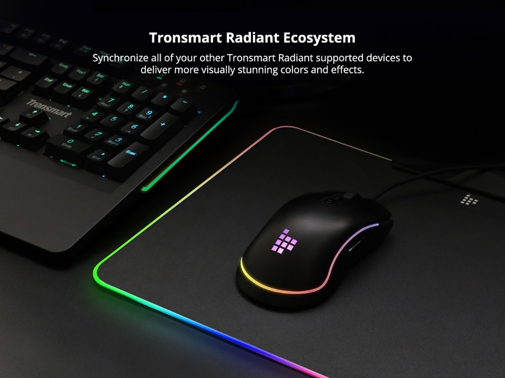 Tronsmart Shine X RGB Gaming Mouse Pad Compupter Mouse Pad Gamer USB Mat with 8MB flash memory,16.8 Million Colors,Touch Sensor 9
