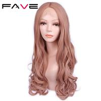 FAVE Premium Long Wavy Synthetic Lace Front Wigs For Black White Women 26 Inch Pink Rose Gold Color Wigs For Cosplay Or Party