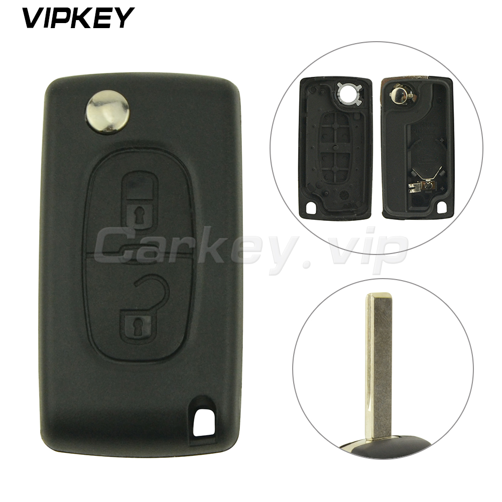 Remotekey CE0536 Remote Flip car <font><b>Key</b></font> Shell Fob Case 2 button HU83 for <font><b>Peugeot</b></font> 207 307 <font><b>308</b></font> image