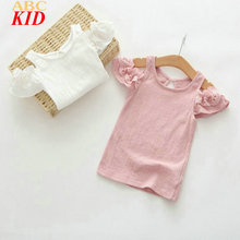 2017 Summer Baby Girl Shirt Pink White Off Shoulder Shirts Tops Lace Ruffle Sleeve Tops Kids Clothes Sweet Shirt KT064