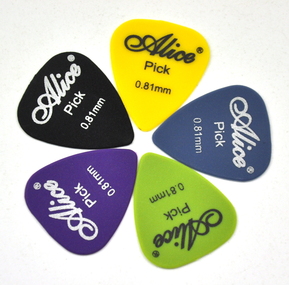 Alice Nylon Standard Gemischte Farben Gitarre Pickt Plektren 100pcs Neu