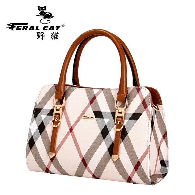 FERAL CAT 2017 HOT New Women Bag Designer Bags Plaid Shoulder Handbags Top Handle Tote High Quality Famous Brand hot sale 2016 france popular top handle bags women shoulder bags famous brand new stone handbags champagne silver hobo bag b075