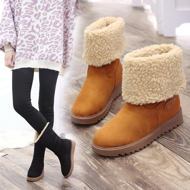 24d25082060c1 Genou Chaussures Botas Furry ski Chaussons Botte Femme Coréen Fluffy  Véritable 2 Coton Style Peluche 2018 ...