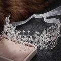 Pelo de la boda joyería nupcial del pelo de hairbands mujeres vendas de la flor de cristal accesorios hechos a mano adornos de pelo del partido de baile