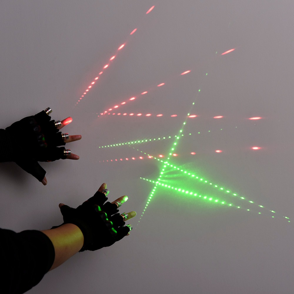 Green laser beam multi beam laser gloves luminous glove stage props DJ night glow props led Palm finger Light Dancing club DJ in Glow Party Supplies from Home Garden