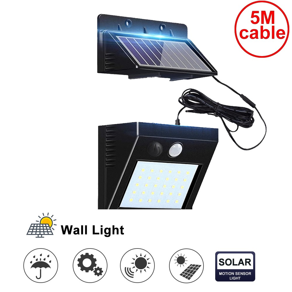 30 Leds Solar Light Split Panel 3 Modes Wall Security Street Deck Decor Fence Lights For Indoors Usage Waterproof Motion Sensor