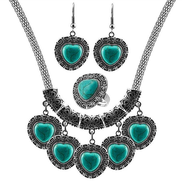 Click here to Buy Now!! SL010 любовь, сердце камня комплект ювелирных  изделий Цепочки и ожерелья Кольцо Серьги антикварный ... d17de5768ba