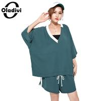 Oladivi Cộng Với Kích Thước Phụ Nữ Nữ Thời Trang Giản Dị Thể Thao Mùa Ladies Hai Mảnh Suit Set T-Shirt + Quần Short Áo Sơ Mi Nữ Ngắn Quần
