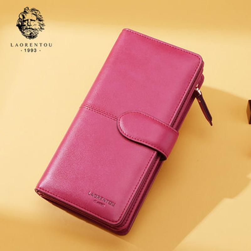 LAORENTOU Women Split Leather Clutch Wallets Multi-Function Retro Purse Fashion Wallet with Zipper for Lady Stylish Women Purse