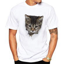 Men's Tops Casual Short Sleeve T-Shirt 3D Cat Print Pattern Round Neck T-Shirt Males Fashion Trend White T-Shirt цена 2017