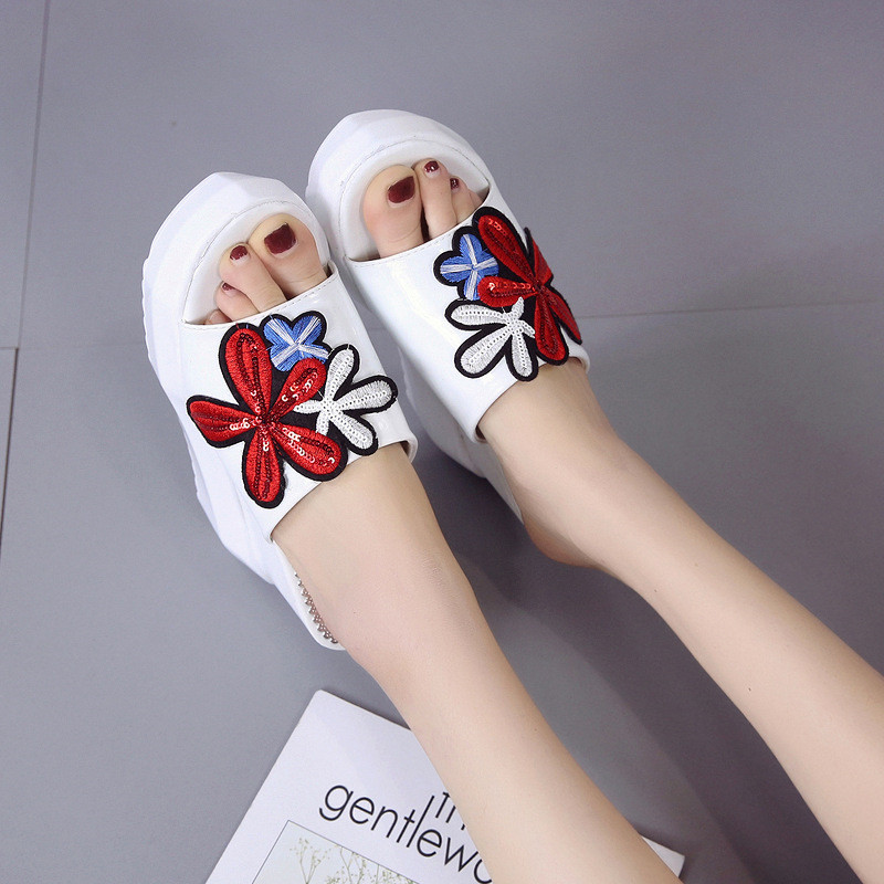 Embroidery Wedges Slipper Sexy Platform Slippers Sandalen 2019 Female Fish Mouth Slippers Summer Women Thick soled Slope Heels in Slippers from Shoes