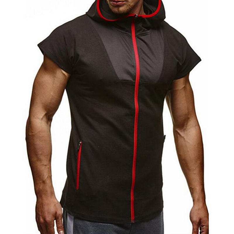 2018 Summer Hoodies Running T Shirt Men Hooded Short Sleeve Slim Fit Zipper T-shirt Black Tshirt Male Ftiness Tops Gym Clothing Neither Too Hard Nor Too Soft