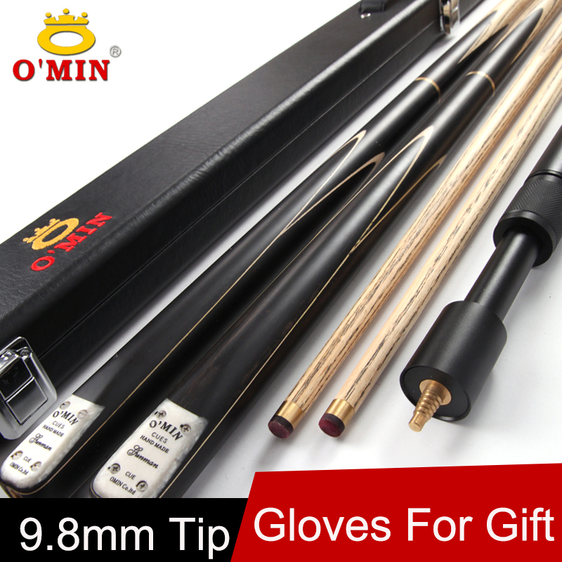 O'MIN Brand 3/4 Snooker Cue Stick 9 8mm Tip 3 4 Snooker Cues Case Set China  Fast Shipment