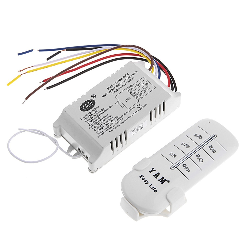 4 Ways ON/OFF 220V Wireless Receiver Lamp Light Remote Control Switch Electrical Equipment Supplies ac 220v 1ch rf wireless remote switch wireless light lamp led switch 1 mini receiver 4 transmitters on off 315mhz or 433mhz