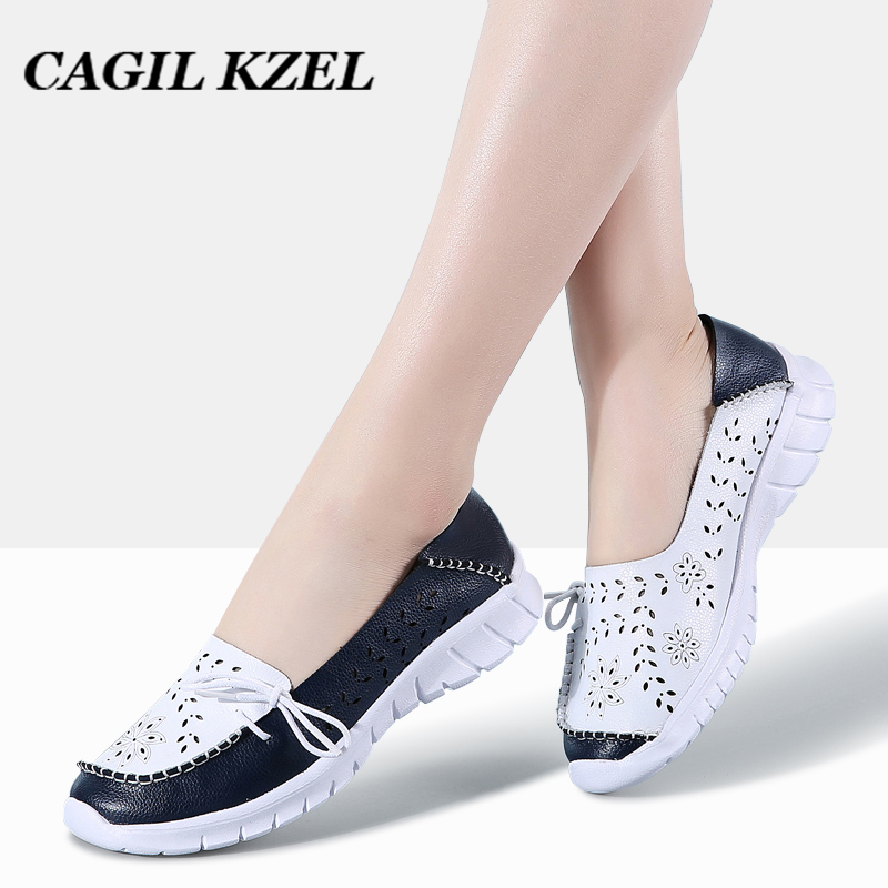CAGILKZEL 2019 Fashion Women Flats Shoes Genuine Leather Summer Shoes Woman Slip-on Ballerina Flats Mother Boat Shoes moccasins(China)