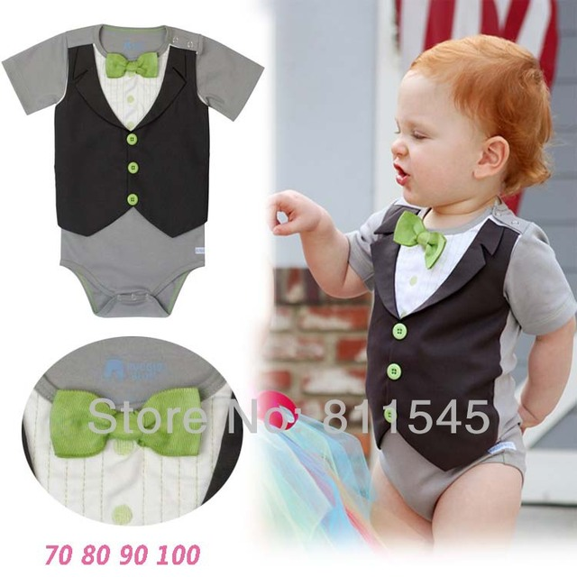 2a381340b One Piece Cute Gentleman Suit for Boy Baby Bodysuits Fashion ...