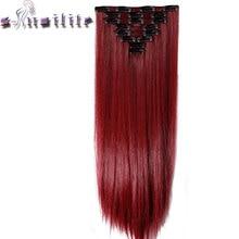С-noilite 8 шт./компл. 18 Зажимы на длинные 66 см прямо целую голову Зажим в синтетических выдвижениях волос настоящий синтетический высокое Температура Волокно