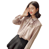 Elegant fashion chiffon blouse women 2018 spring new long sleeve bow tie pleated ruffle blouses and tops lace blusa shirt