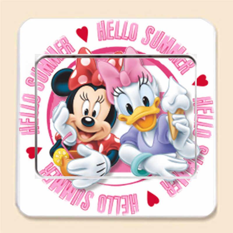 Mickey Minnie สติกเกอร์ห้องนั่งเล่นห้องนอน Living Room Decor ภาพจิตรกรรมฝาผนังโปสเตอร์เด็กวันเกิดของขวัญ