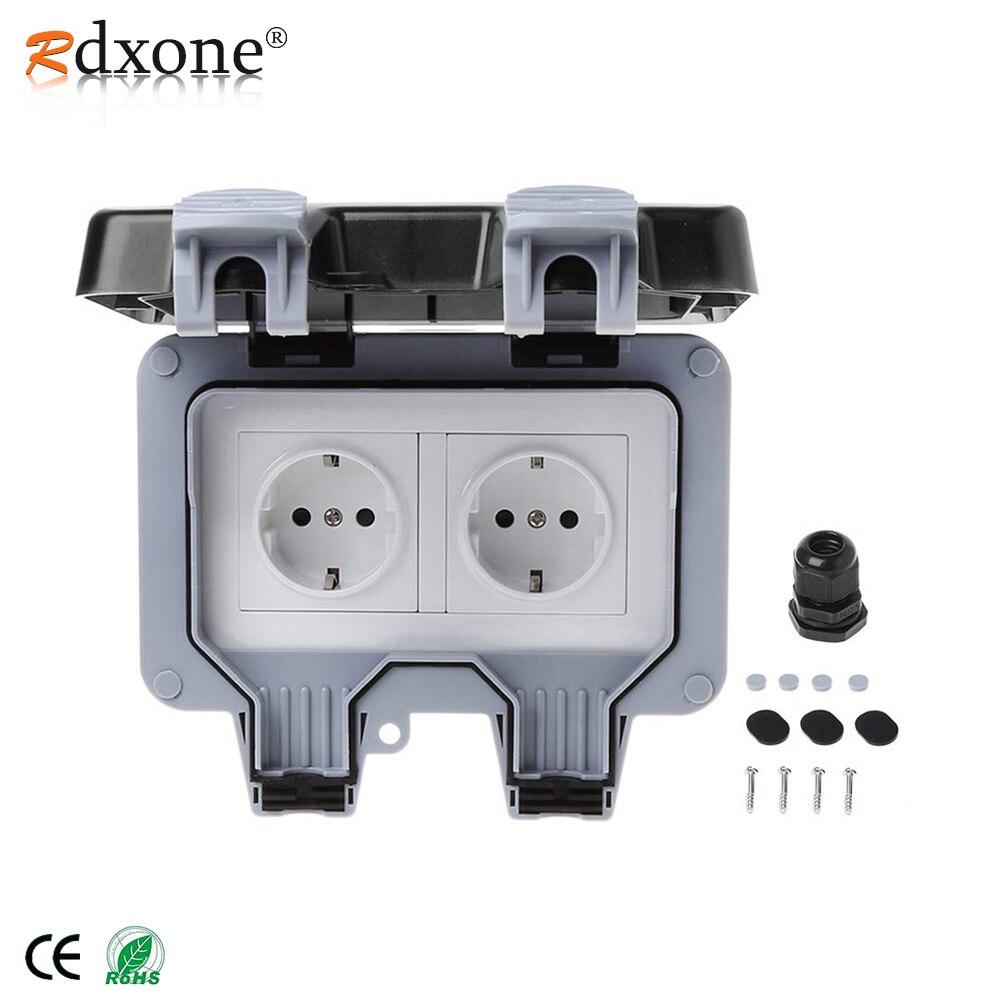 Rdxone 16A Waterproof Outdoor Outlet IP66 Weatherproof Wall Power Socket for bathroom waterproof wall socket