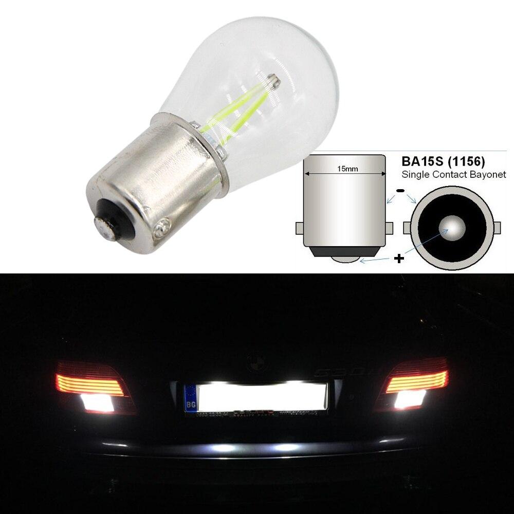 1pcs P21W LED ba15s 1156 Led Filament Chip Car Light S25 Auto Vehicle Reverse Turning Bulb Lamp DRL White 12v