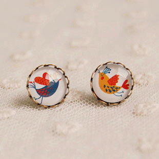 2f0623fe2afc1 Unique Design Love Couple Birds Stud Earrings Animal Cute 12mm Glass  Cabochon Post Earrings Bronzed Earrings Valentine Day rd26