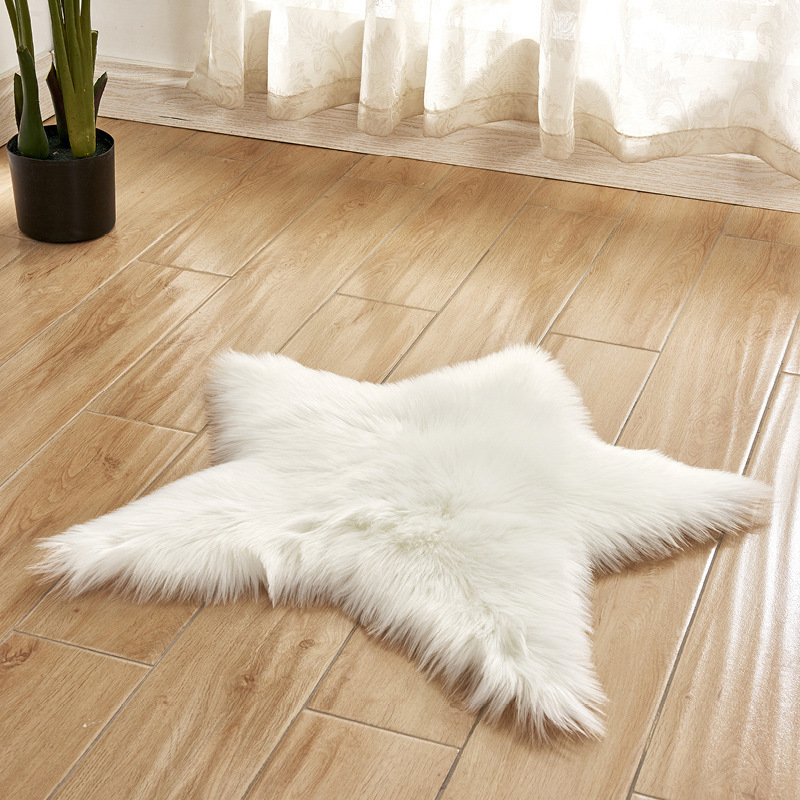 60CM Star Shape Artificial Wool Carpet Sheepskin Hairy Carpets Faux Mat Seat Pad Fluffy Soft Area Rug Chair Cover Bedroom Mat