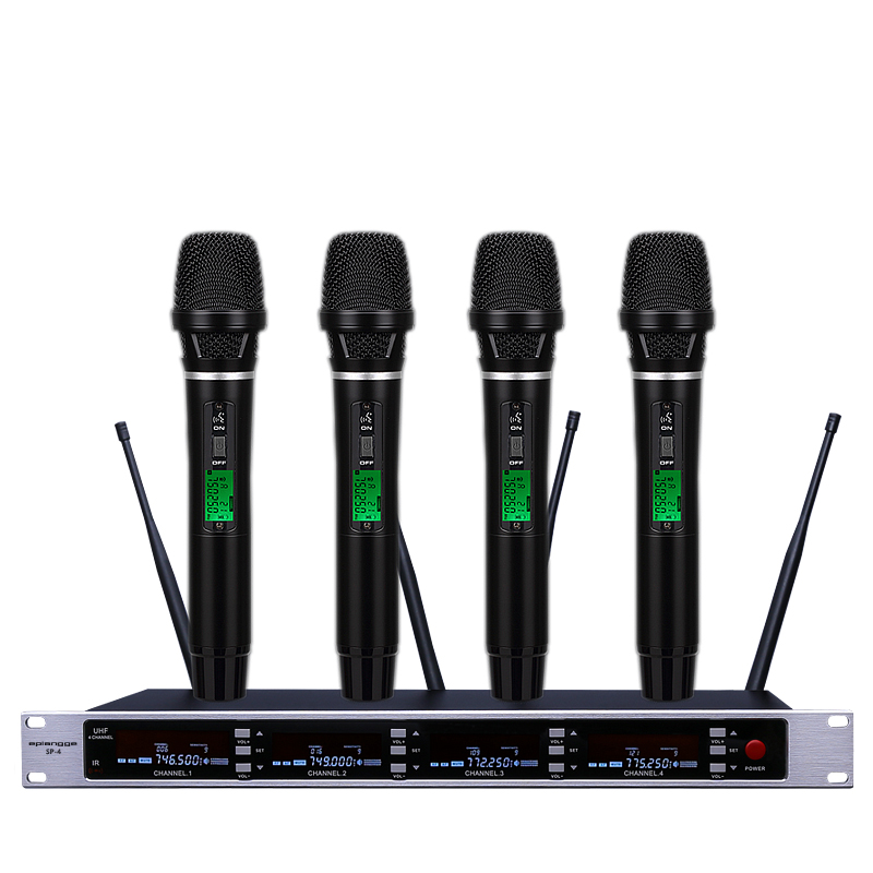EPlangge professional UHF wireless microphone mic system four channel UHF dynamic professional true diversity microphone 4 x 100 channel ture true diversity whole metal cordless microphone system uhf wireless stage microphone system 4 mic
