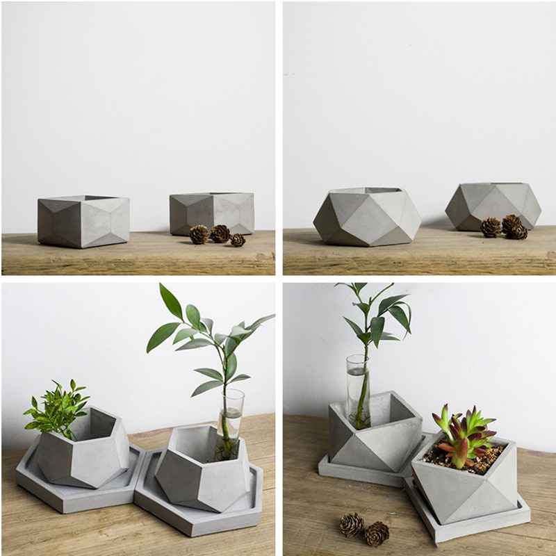 Geometric Flowerpot Mold Cement Pot Silicone Mold Geometric Gypsum Succulent Planter Concrete Pot Mould in Clay Molds from Home Garden