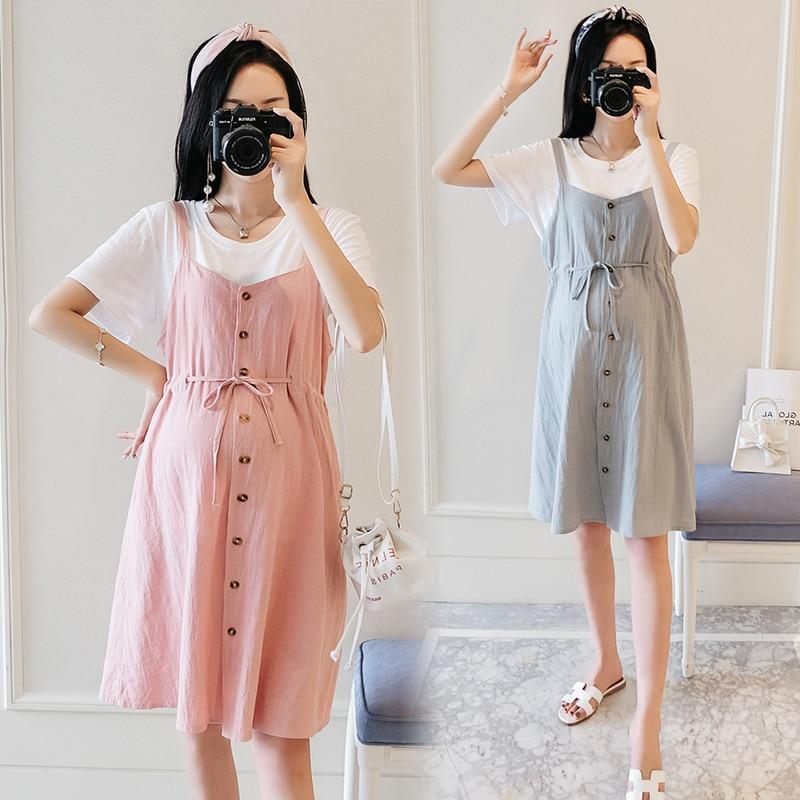 Плюс размер Материнство платье белая футболка + ремешок для шнура платья комплект из двух предметов летняя одежда для женщин сплошной цвет ...