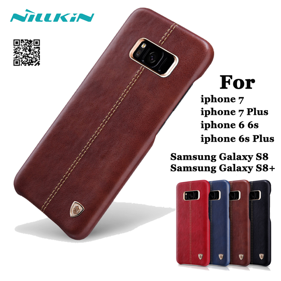 For Apple iPhone 7 Plus X Case Original Nillkin Englon Leather Cover For Samsung S8+ S9 Note 7 8 Back Cover Built-in Iron Shell ...