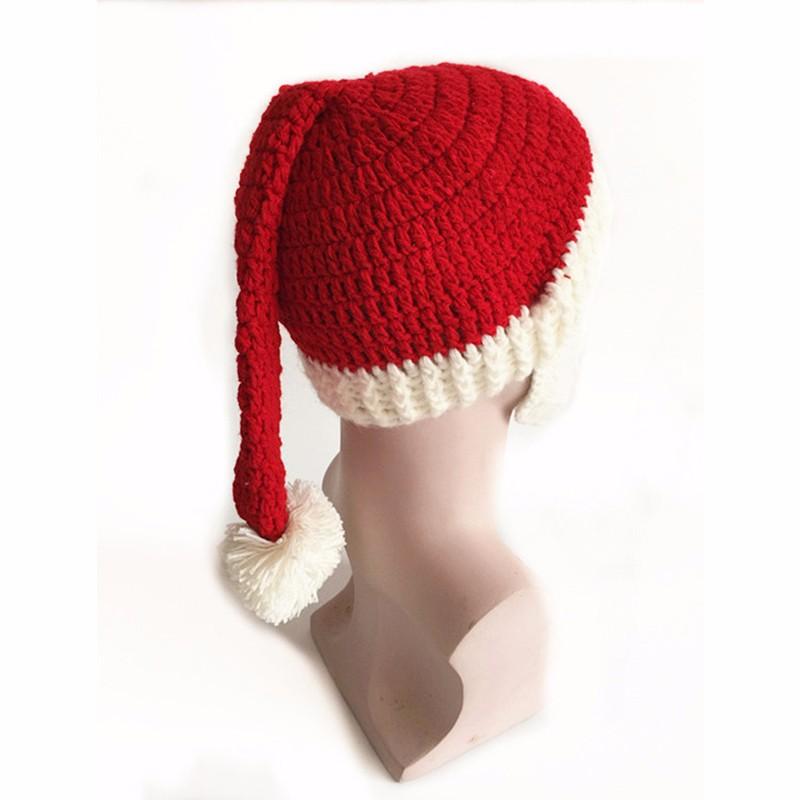 2016 Adult Crochet Knit Beanie Santa Claus Handmade Knitted Hat Hot Fashion Bearded Cap Women Men Christmas Gifts Accessories (13)