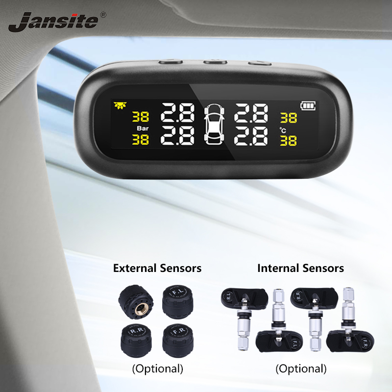 Jansite Solar TPMS Car Tire Pressure Alarm Monitor System Display Intelligent Temperature Warning Fuel Save with 4 Sensors tpms