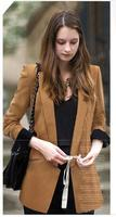 2016 Top Fashion Sexy Turn Down Collar Button Fly Woman Coats Occident Linen Pure Color Full