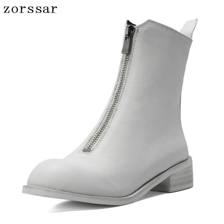 {Zorssar} fashion Genuine Leather Women ankle Boots Flat Booties Soft Cowhide Womens Shoes Zip Ankle short Boots zapatos mujer{Zorssar} fashion Genuine Leather Women ankle Boots Flat Booties Soft Cowhide Womens Shoes Zip Ankle short Boots zapatos mujer