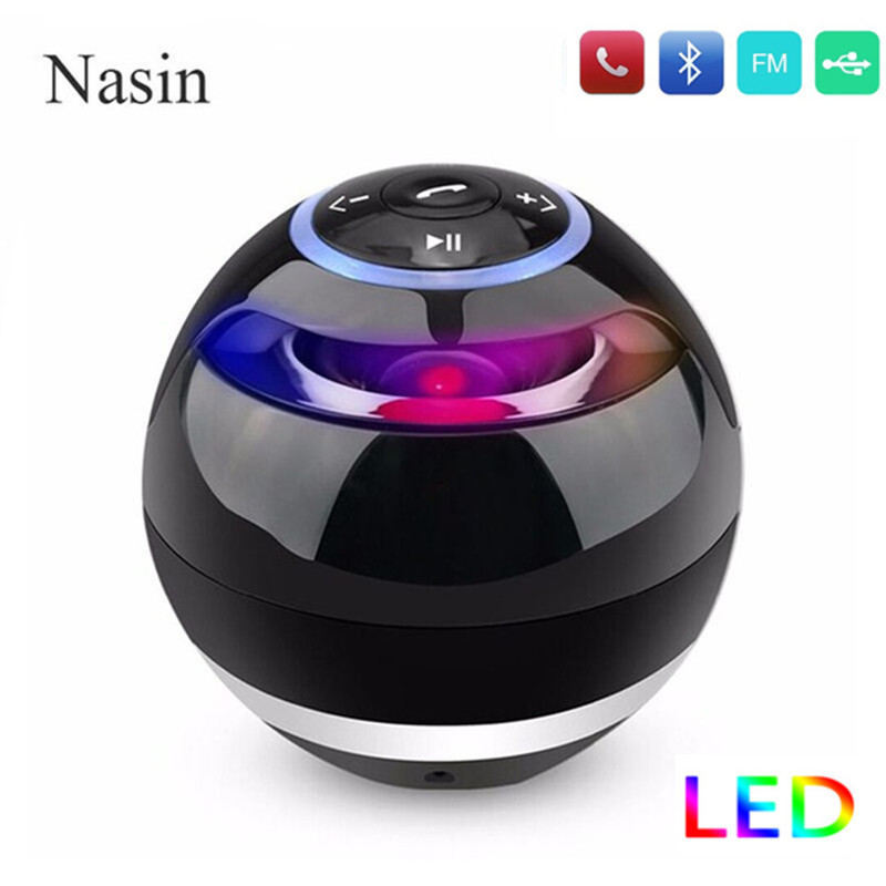 Nasin Round Wireless Bluetooth Speaker Portable Subwoofer w Mic Support TF Card USB MP3 FM AUX Hands free Calling For Smartphonebluetooth speakerbluetooth speaker portablewireless bluetooth speaker portable -