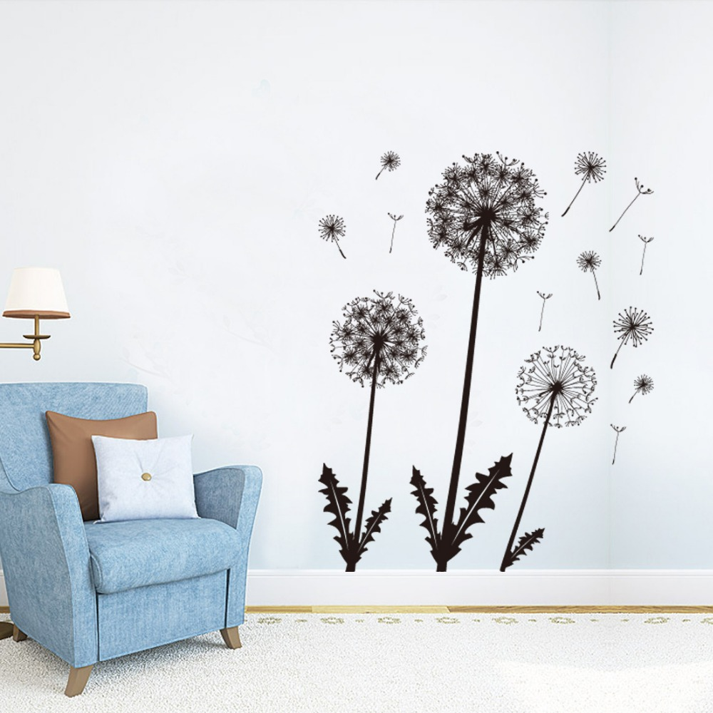 2017 dandelion wall sticker brown flower decals girls home bedroom 2017 dandelion wall sticker brown flower decals girls home bedroom living room window decor plants vinyl wallpaper diy removal in wall stickers from home amipublicfo Images